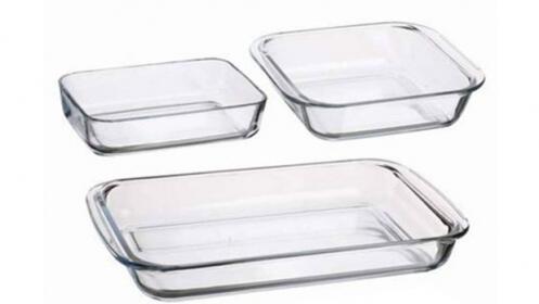 Set de 3 bandejas de cristal
