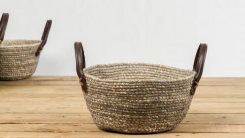 Set de 3 cestas de hoja de maíz